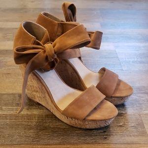 Saks Fifth Avenue McKenna cork suede wedge sandal